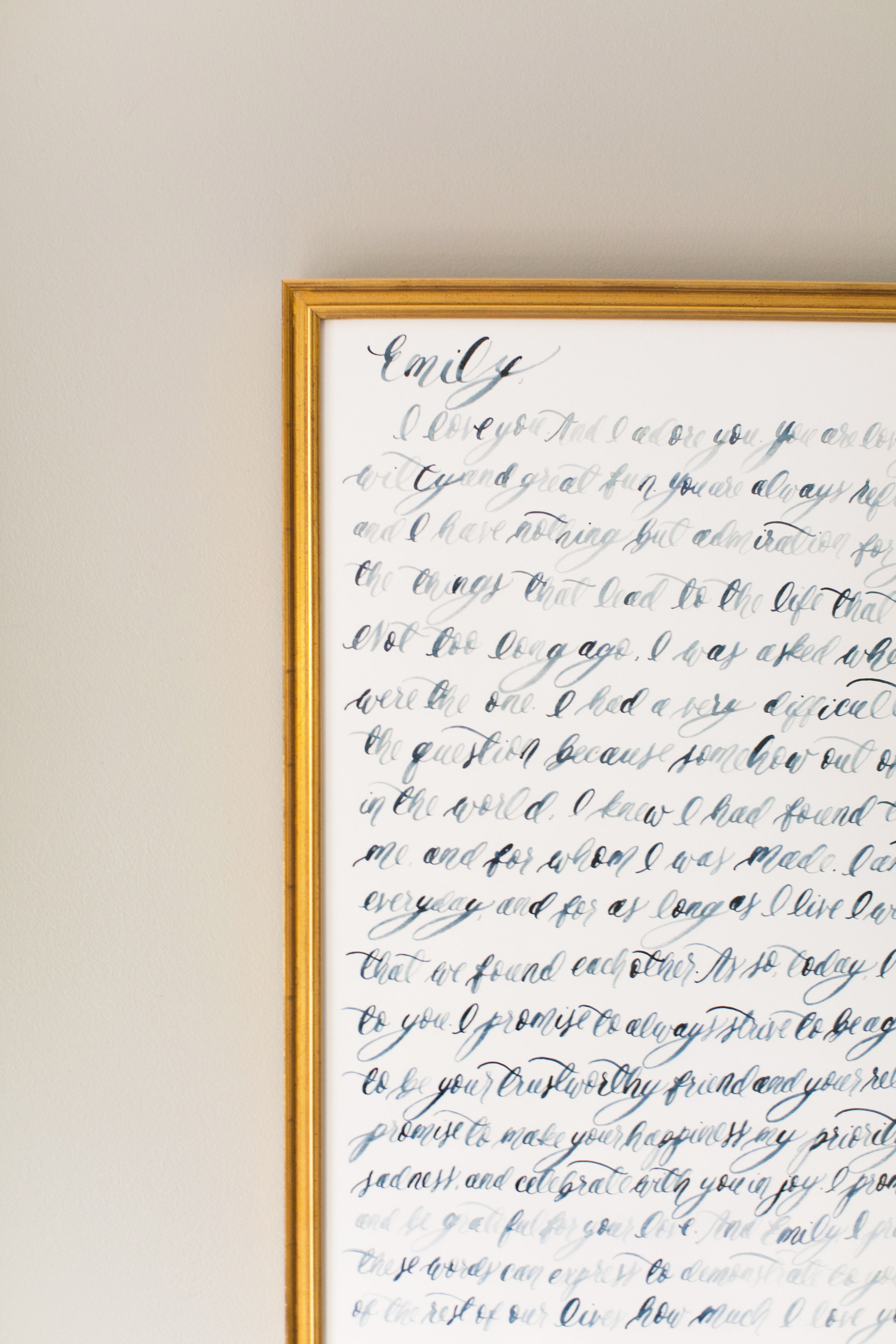 Custom Watercolor Brush Calligraphy Vow Sets 16x20 by Simply Jessica Marie Featured on the Southern Weddings Blog and Photographed by Callie Davis of Nancy Ray Photography