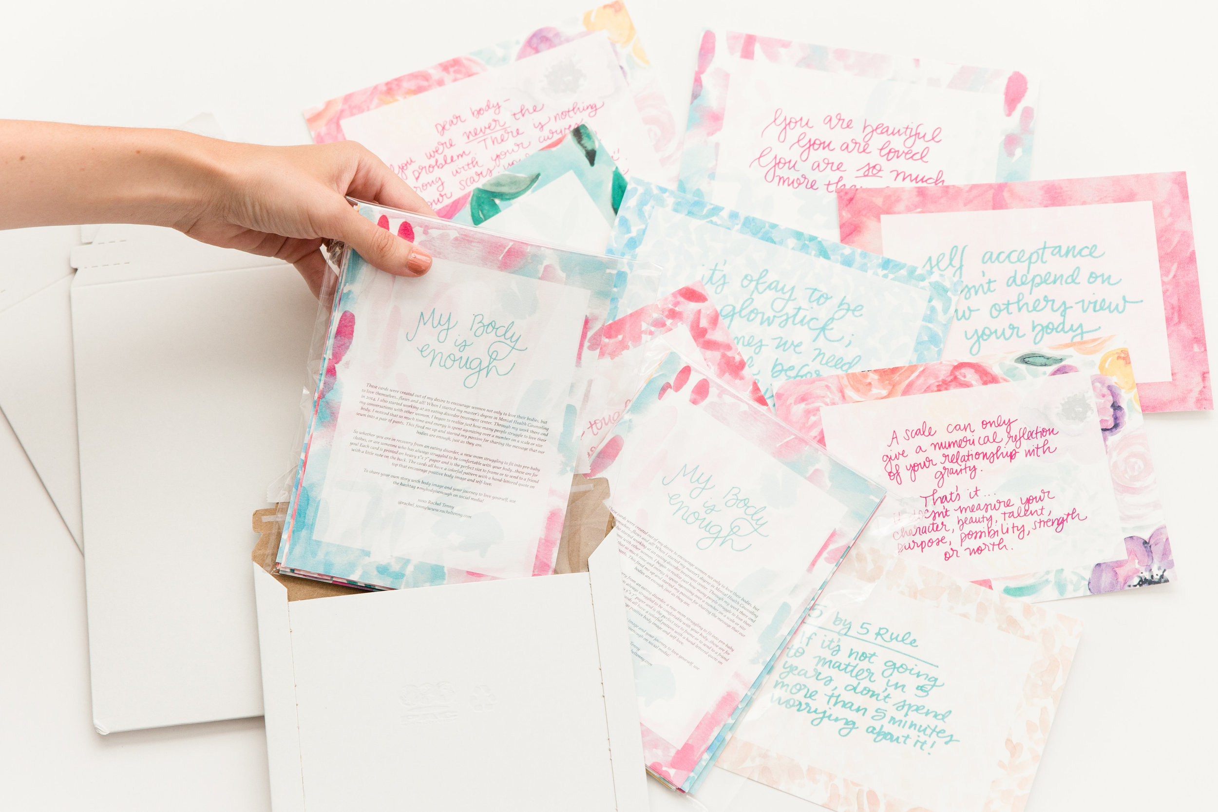 My Body is Enough Project Encouraging Note Sets by Rachel Tenny