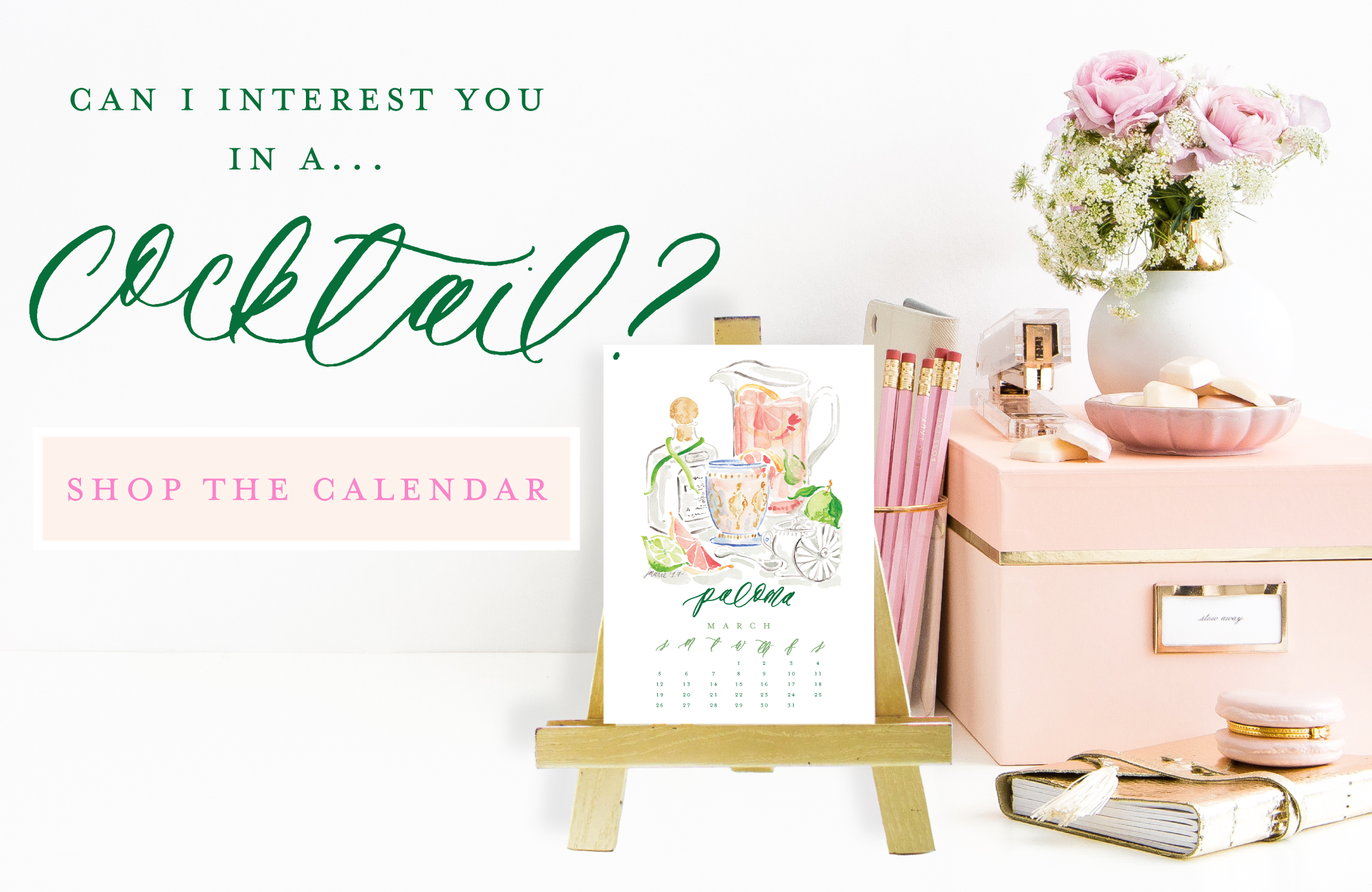 2017 Cocktail Calendar by Simply Jessica Marie | Watercolor Cocktail Illustrations | SC Stockshop