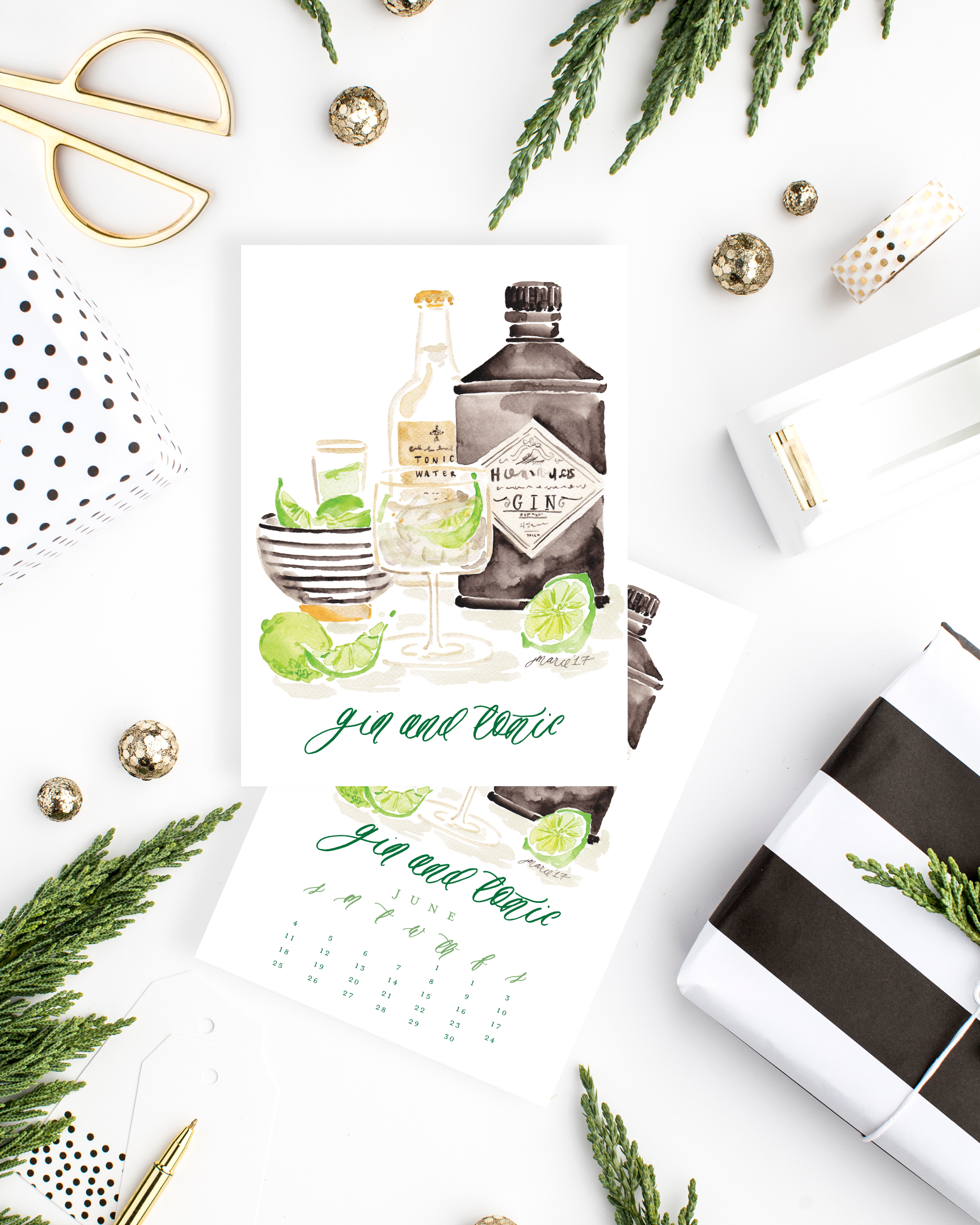 2017 Cocktail Calendar by Simply Jessica Marie with Watercolor Cocktail Illustrations | SC Stockshop