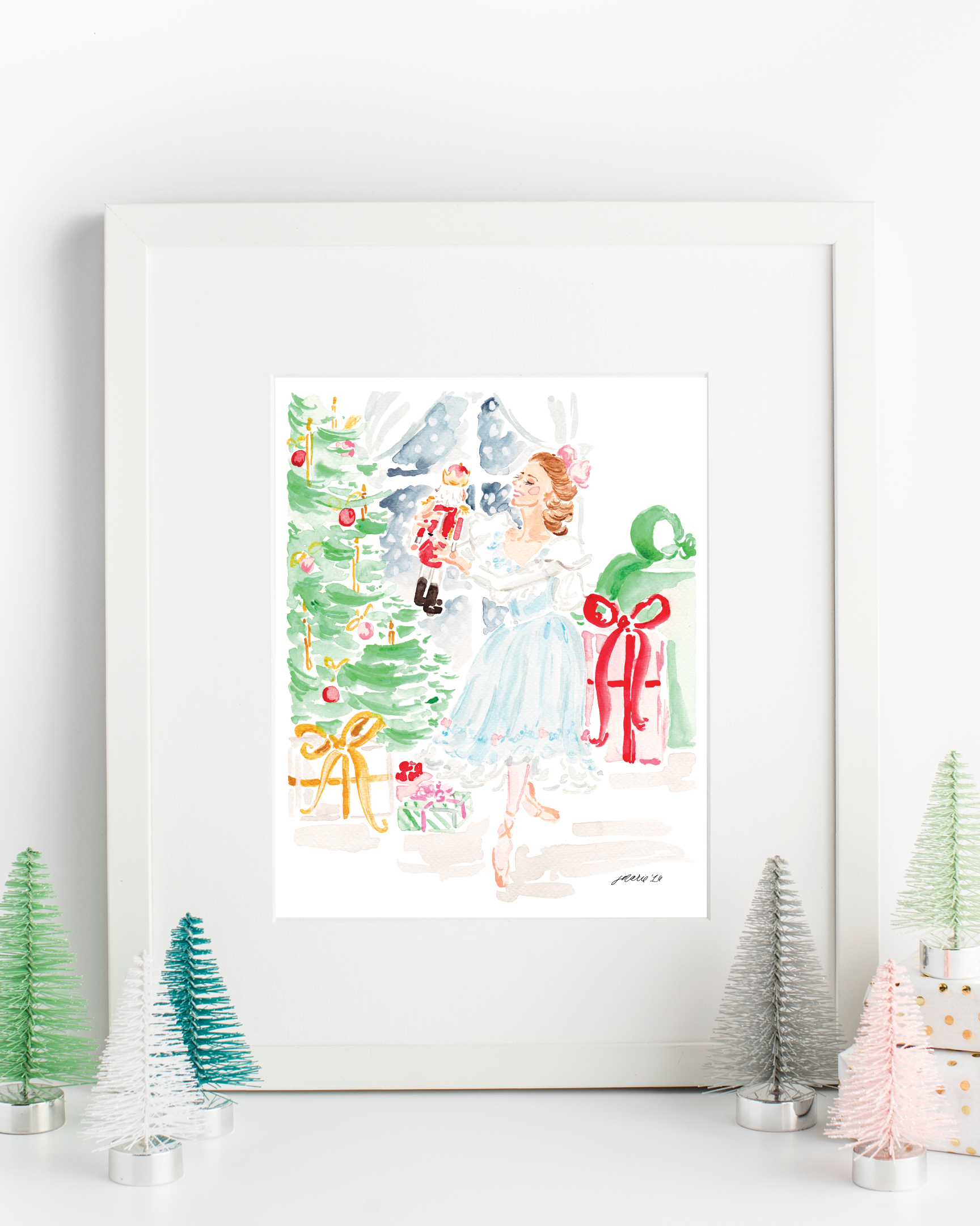 The Nutcracker and Clara Watercolor Art Print by Simply Jessica Marie | SC Stockshop