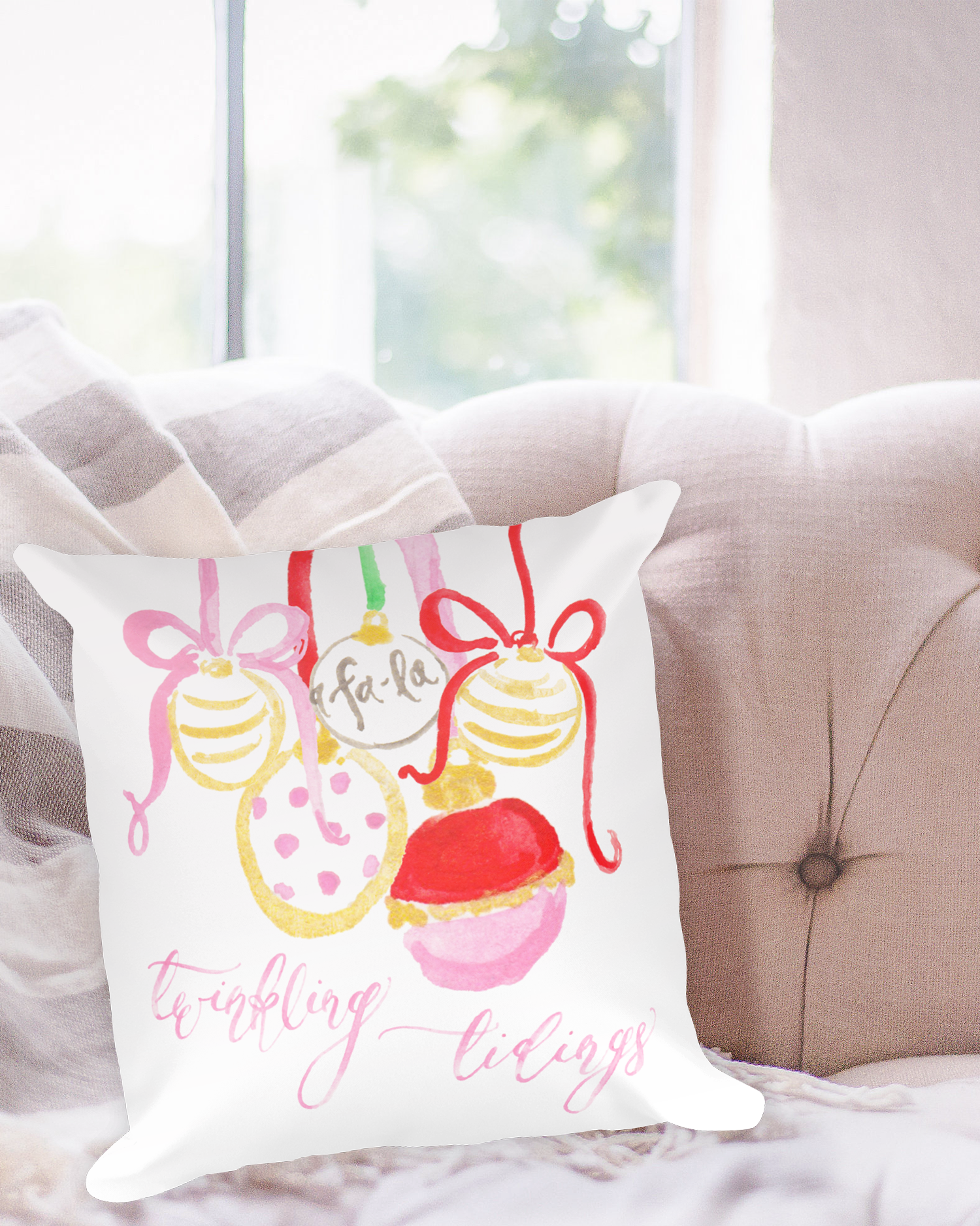 Twinkling Tidings Watercolor Christmas Pillow by Simply Jessica Marie