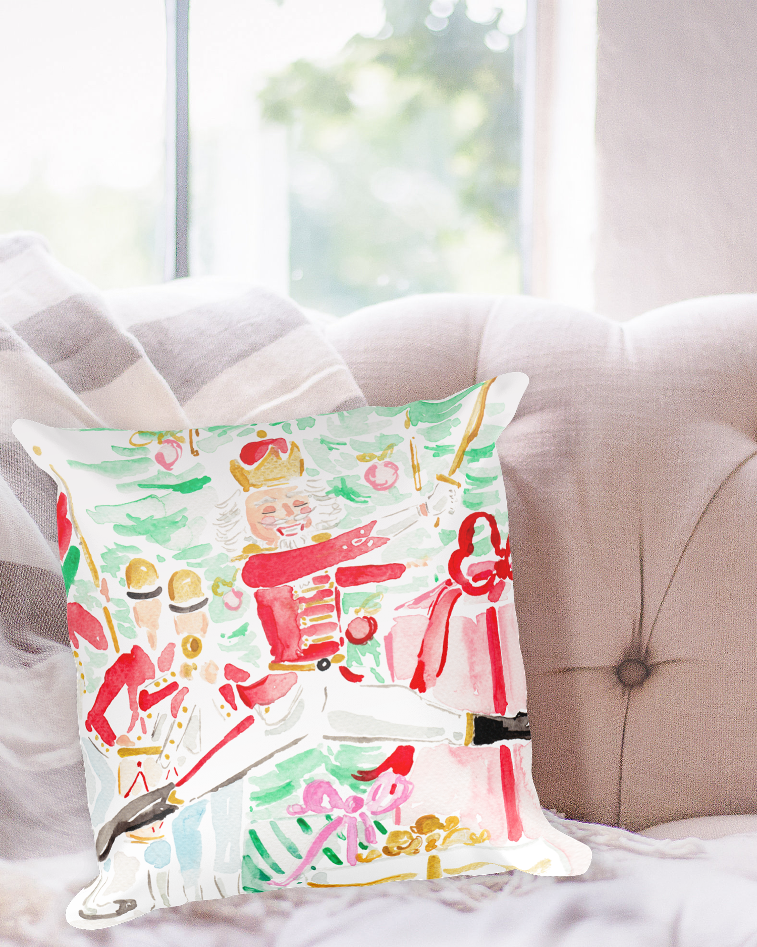 The Nutcracker Watercolor Christmas Pillow by Simply Jessica Marie