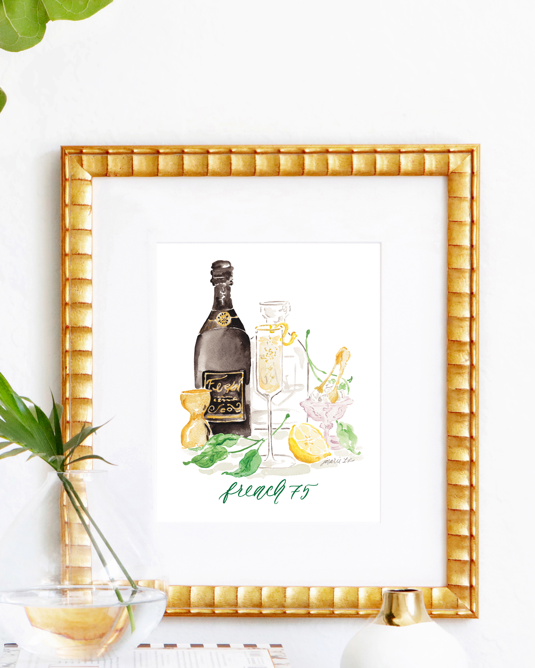 Classic French 75 cocktail recipe | French 75 watercolor art print by Simply Jessica Marie | SC Stockshop