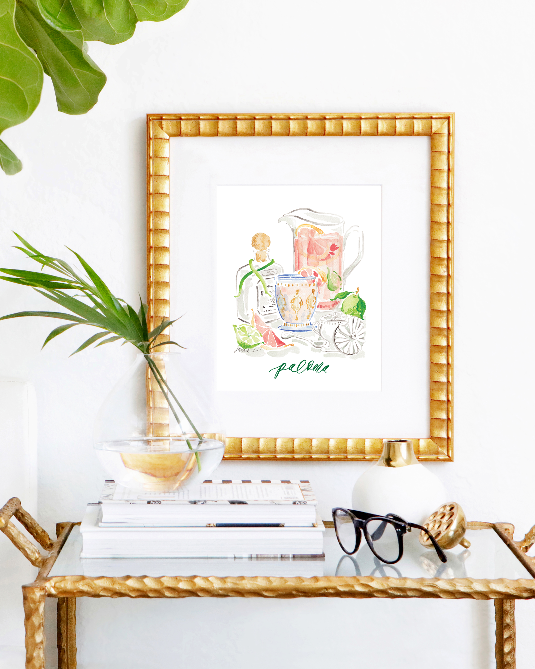 Classic Paloma cocktail recipe | Paloma watercolor art print by Simply Jessica Marie | SC Stockshop