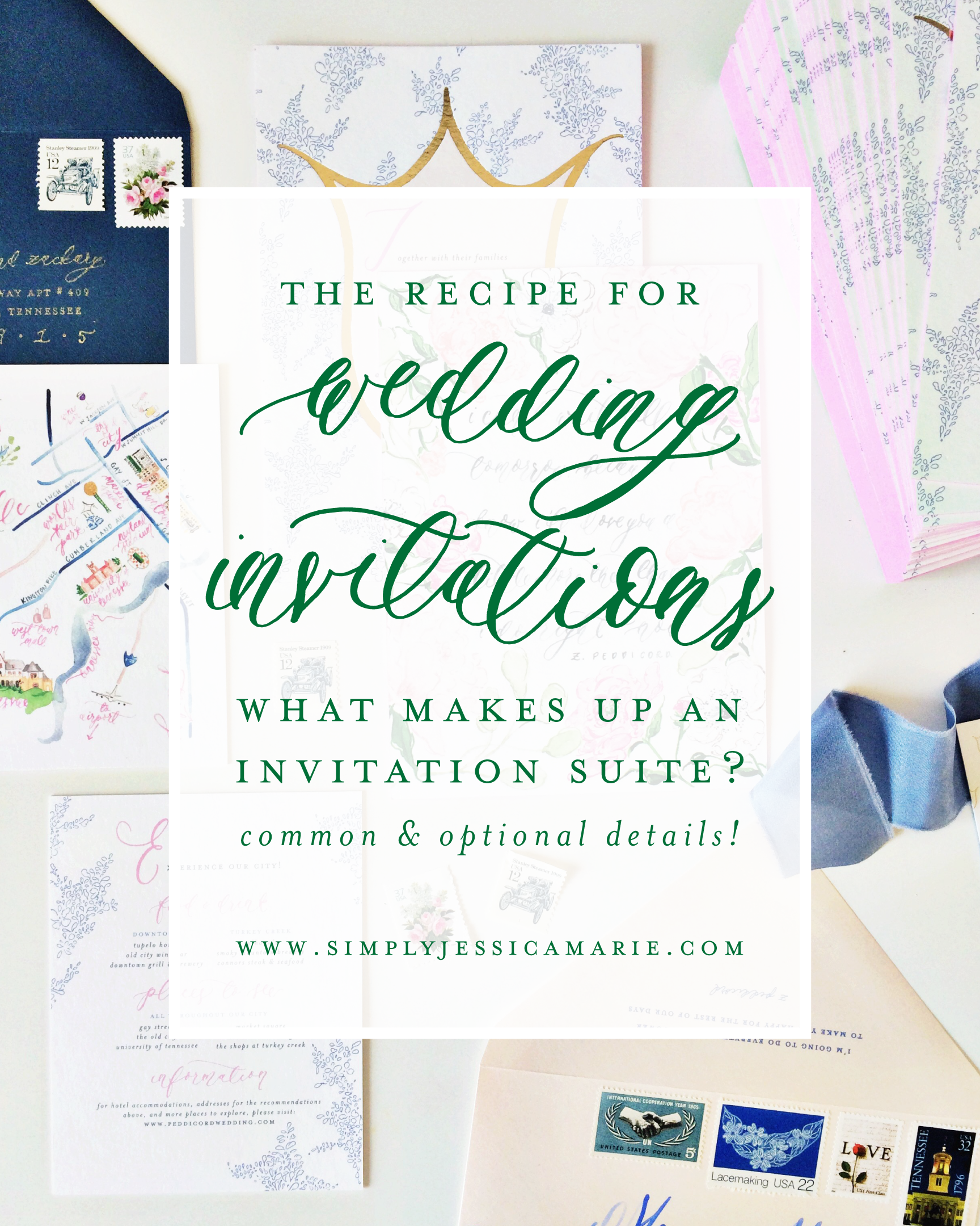 The recipe for a wedding invitation suite. What makes up an invitation suite? What details do I include in my wedding invitations? By Simply Jessica Marie