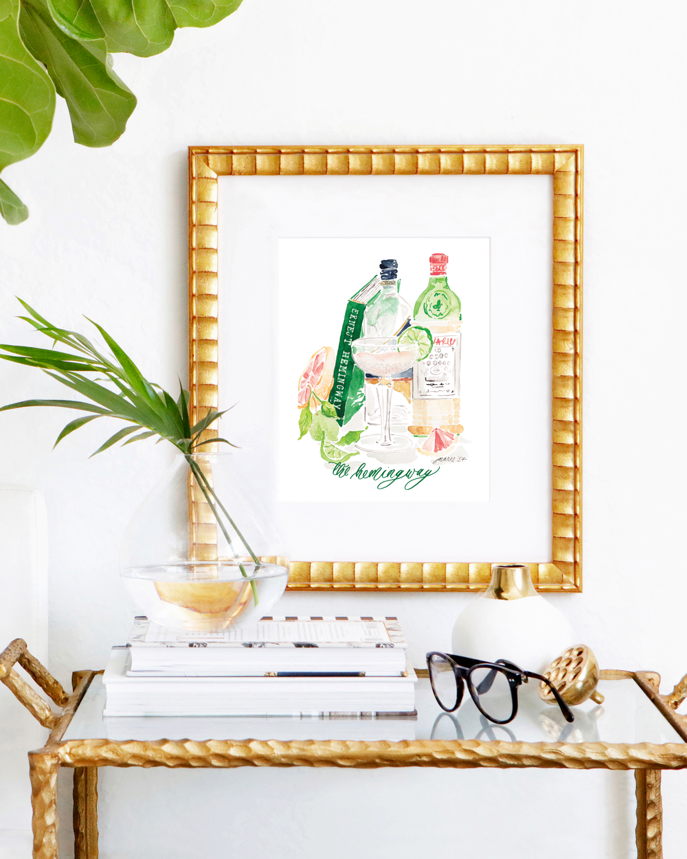or Living Room Bar Printable Wall Art Modern Minimalist Watercolor Cocktail Print for the Kitchen Hemingway Daiquiri INSTANT DOWNLOAD