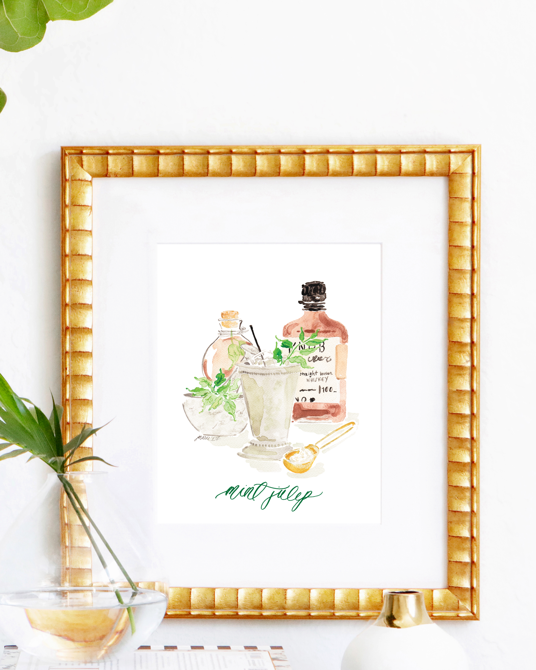 Classic Mint Julep cocktail recipe | Mint Julep watercolor art print by Simply Jessica Marie | SC Stockshop