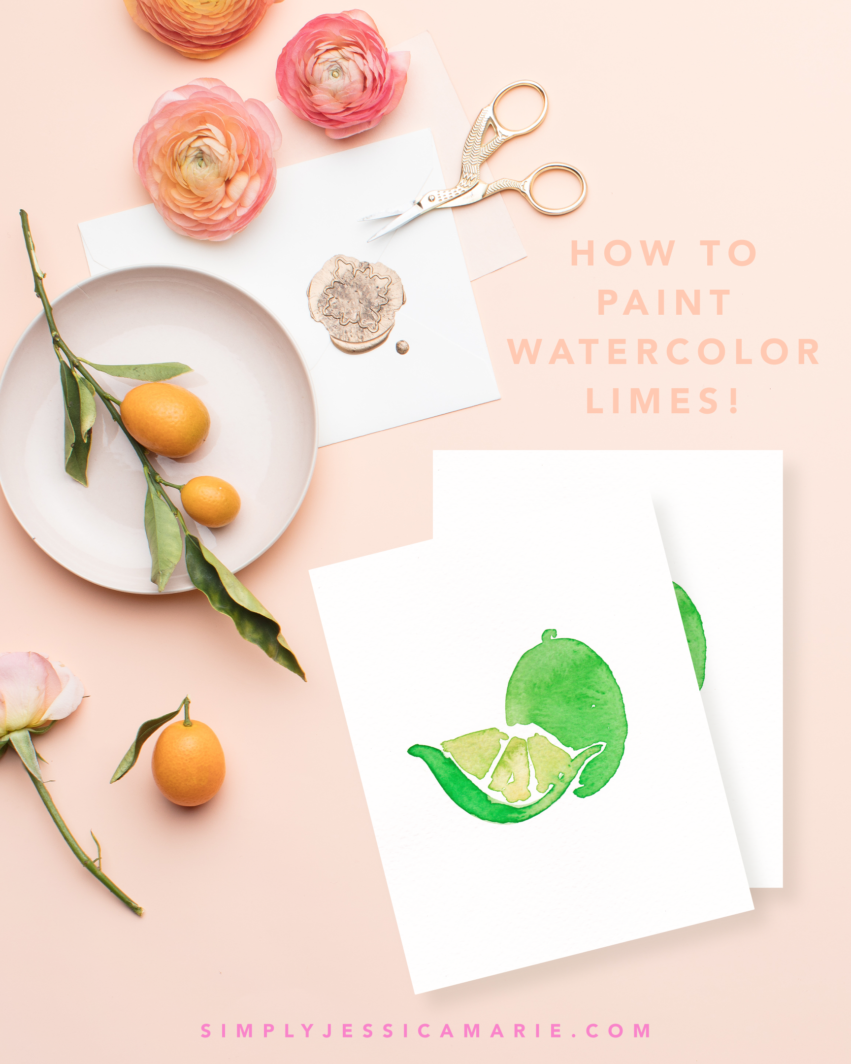 How to paint watercolor limes! Fun and free watercolor videos by Simply Jessica Marie! Learn to mix new colors each week and paint with that color! | SC Stockshop