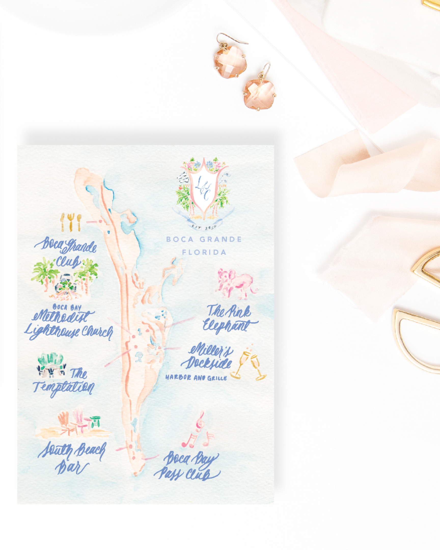 Custom watercolor wedding map of Boca Grande, Florida by Simply Jessica Marie   Photo by SC Stockshop