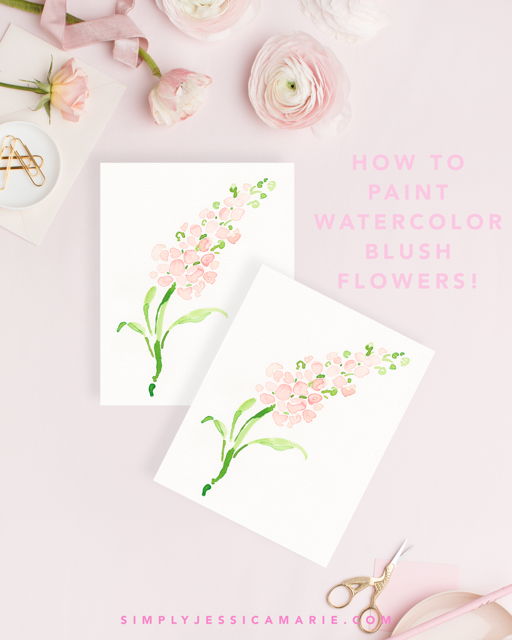 How to paint watercolor blush flowers! Fun and free watercolor videos by Simply Jessica Marie! Learn to mix new colors each week and paint with that color! | SC Stockshop