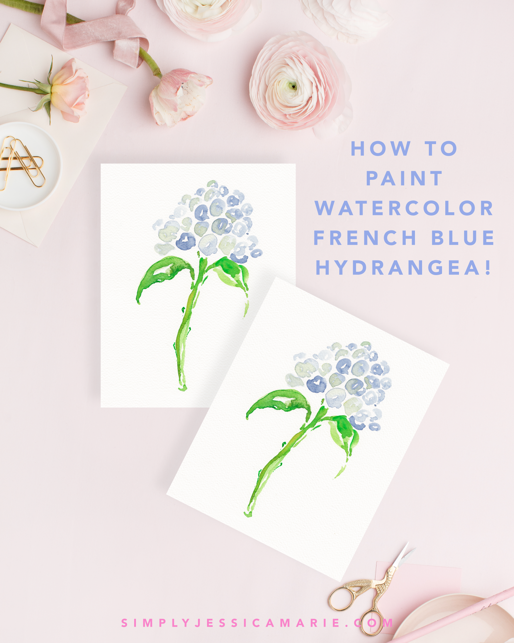 How to paint watercolor French blue hydrangea! Fun and free watercolor videos by Simply Jessica Marie! Learn to mix new colors each week and paint with that color! | SC Stockshop