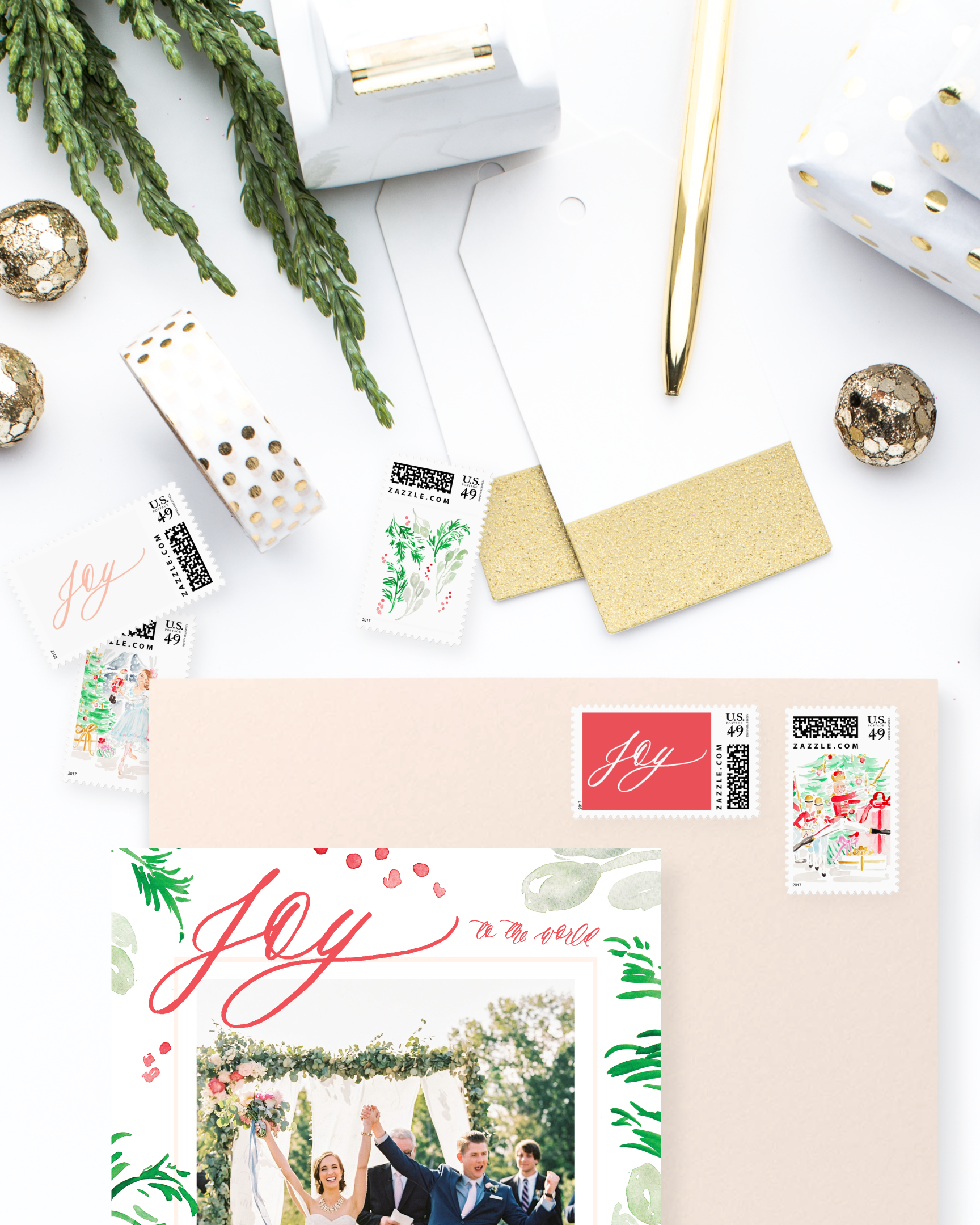 Holiday Postage Stamps by Simply Jessica Marie | Watercolor Postage Stamps | Zazzle Postage Stamps | SC Stockshop Photo