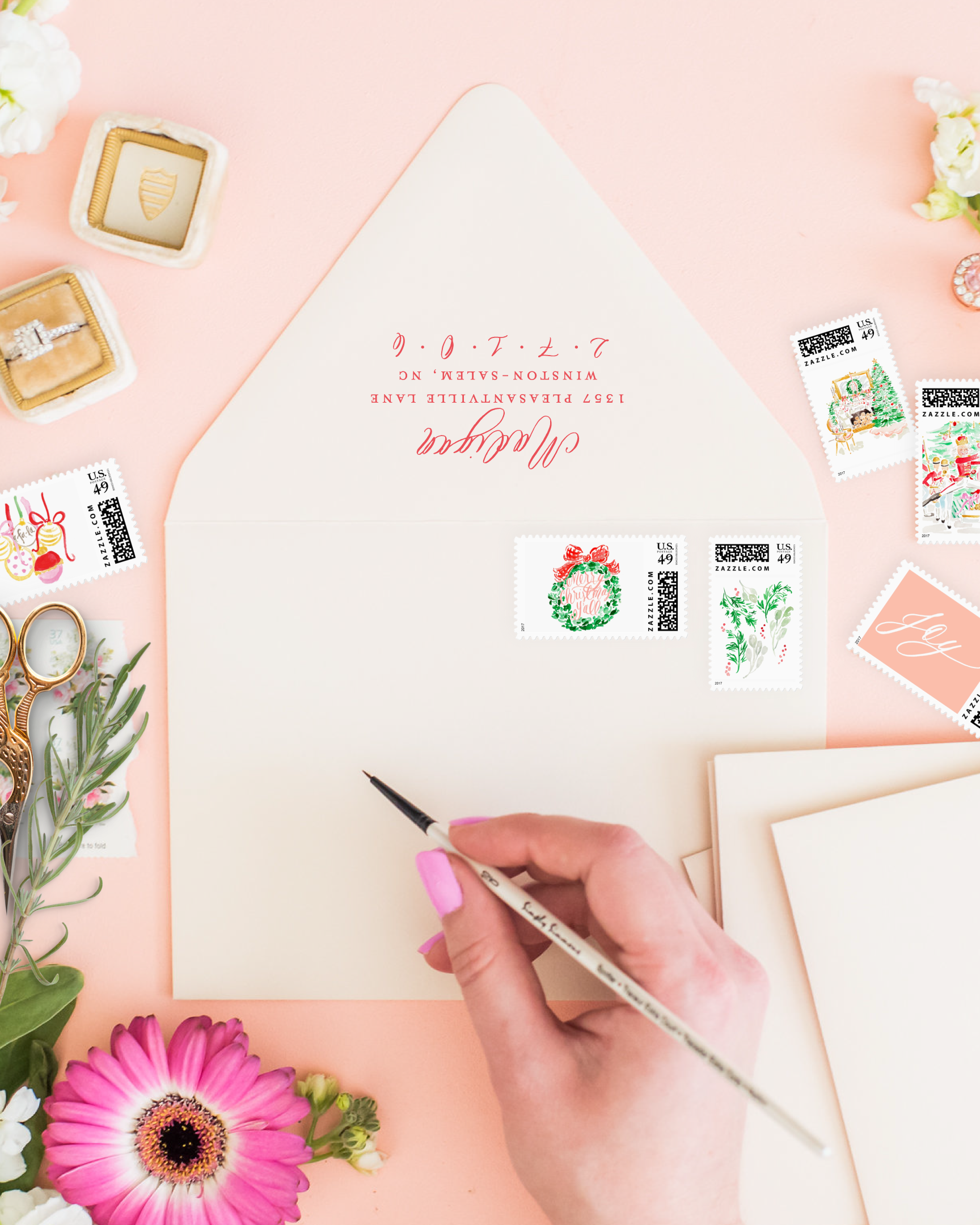 Holiday Postage Stamps by Simply Jessica Marie | Watercolor Postage Stamps | Zazzle Postage Stamps | Photo by Callie Lindsay Photography