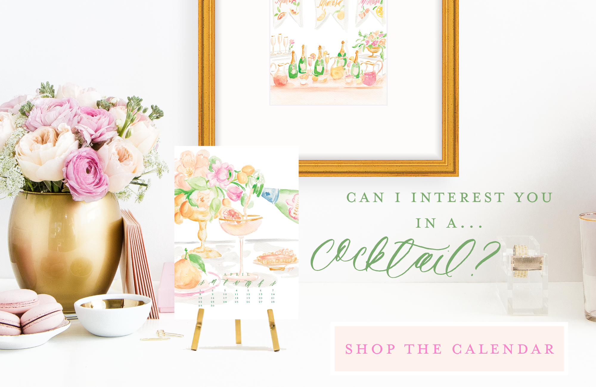 2018 Cocktail Calendar by Simply Jessica Marie | Watercolor Cocktail Illustrations | SC Stockshop
