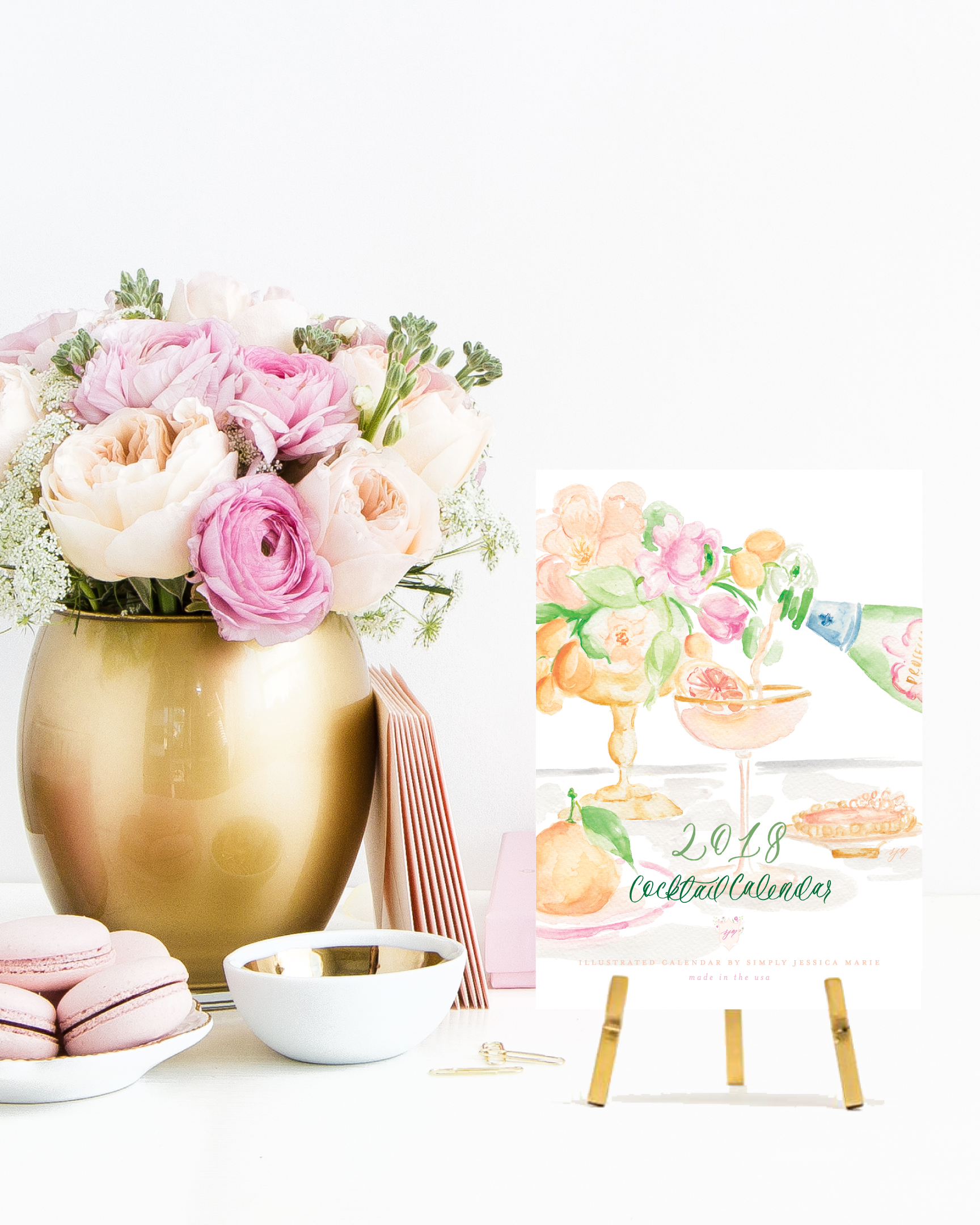 2018 Cocktail Calendar by Simply Jessica Marie | Watercolor Cocktail Calendar | Photo by SC Stockshop