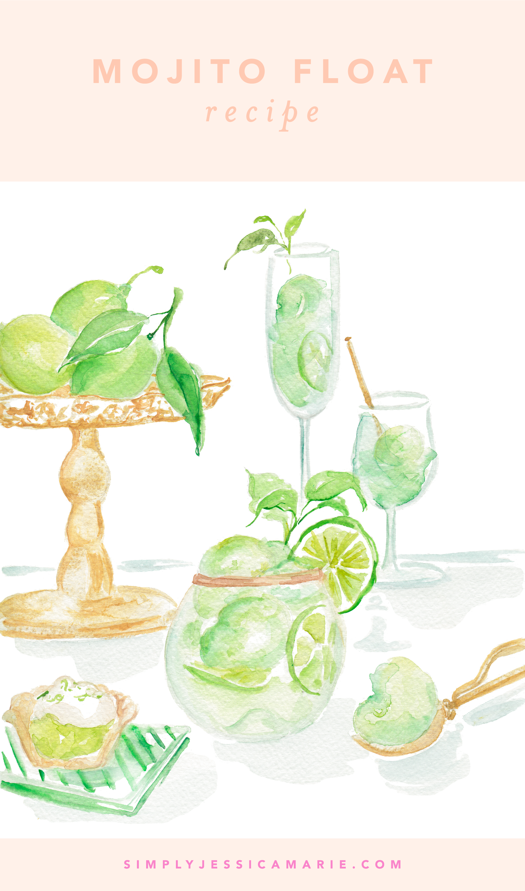 Mojito Float Recipe | Watercolor Cocktail Painting by Simply Jessica Marie | SJM 2018 Cocktail Calendar