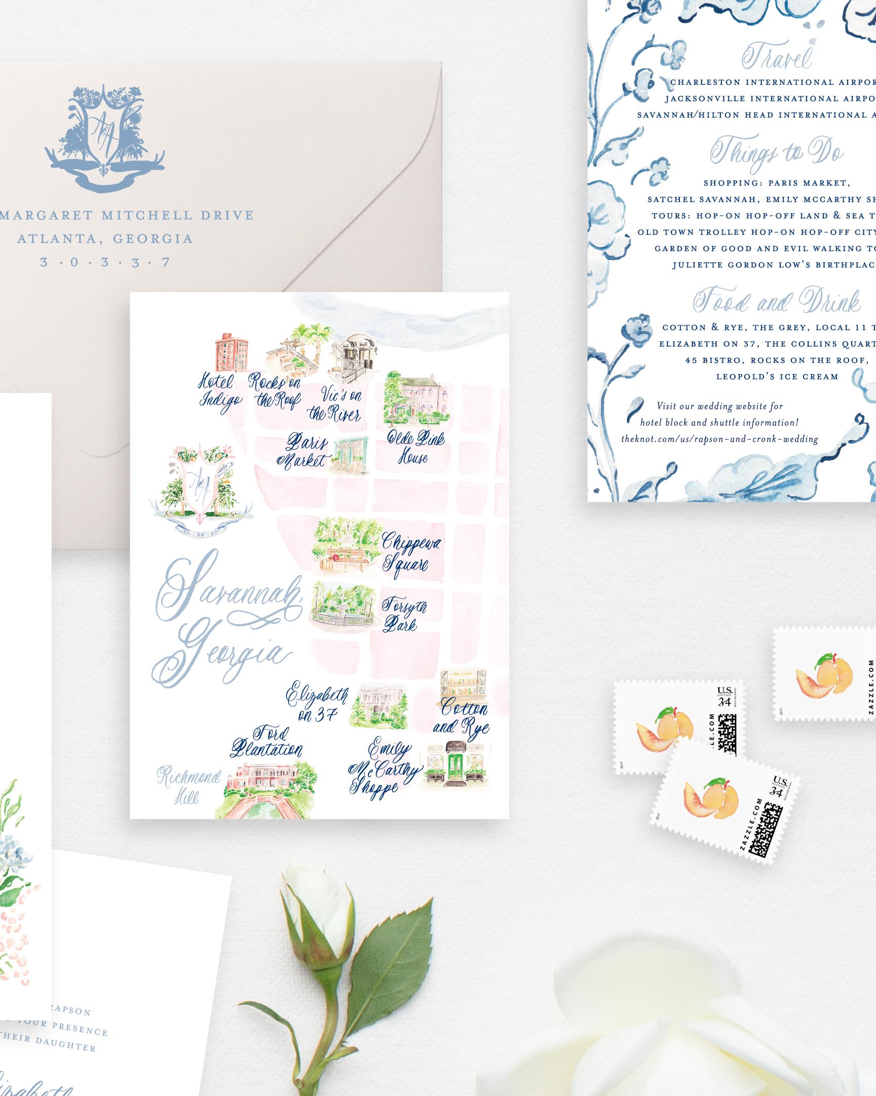 Custom Watercolor Wedding Map | Savannah Invitation Suite by Simply Jessica Marie | SC Stockshop Photo