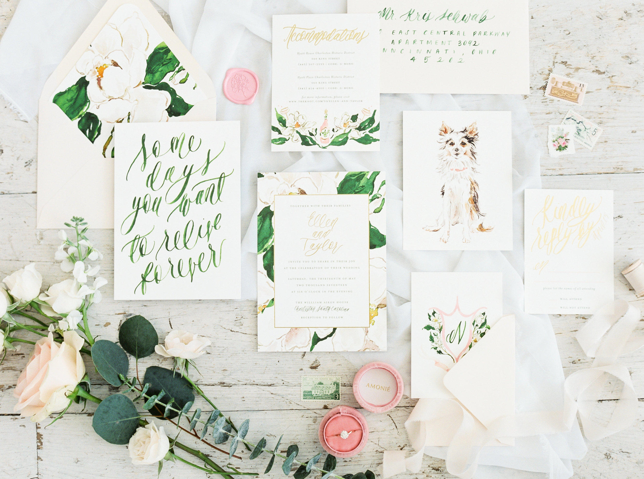 Custom Watercolor Magnolia Charleston Wedding Invitations by Simply Jessica Marie | Photo by Shalyn Nelson at Bloom the Workshop | White Sparrow Barn