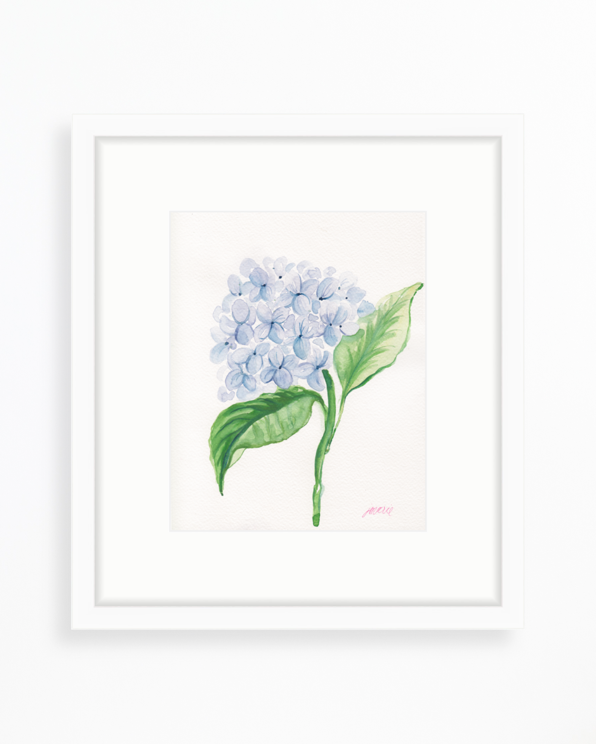 Blue-Hydrangea-Watercolor-Painting-by-Simply-Jessica-Marie-_-White-Frame.png