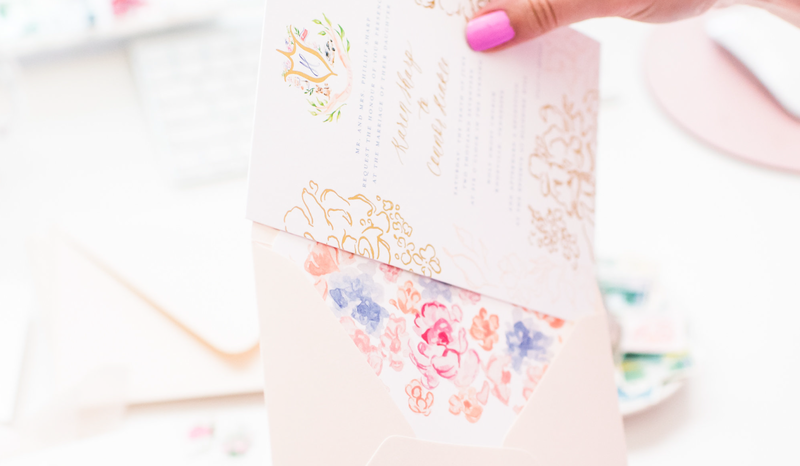 Gold Foil and Watercolor Wedding Invitations by Simply Jessica Marie | Callie Lindsey Photography