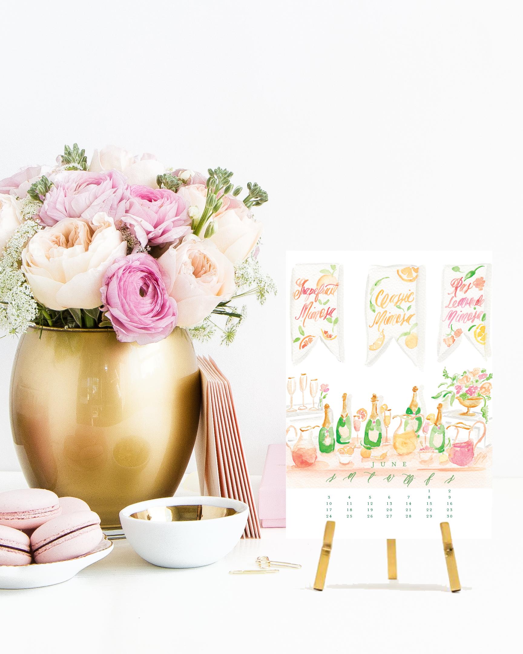 Simply Jessica Marie 2018 Cocktail Calendar | Brunch Cocktails | Cocktail Watercolor Illustration Desk Calendar