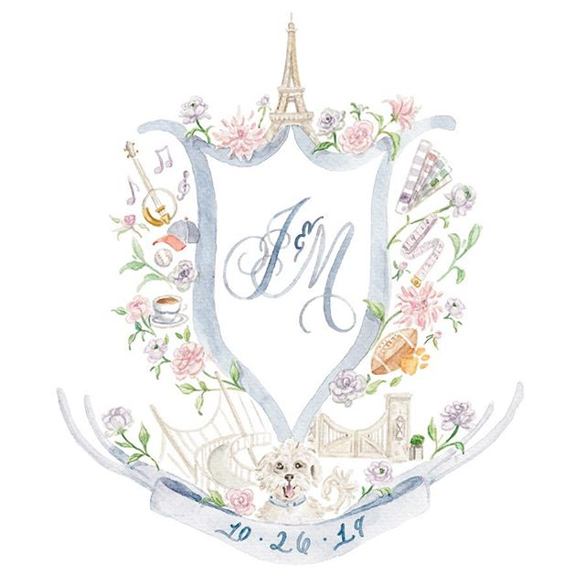 I've been so excited to share this classic Southern charm meets Parisian flair wedding crest with y'all, and now's the time because it's almost wedding weekend for McKenna & Jackson! It has been such a sweet joy working with McKenna over the past few months and I loved every thoughtful design detail she & J wanted to include in their crest. . We topped their crest with the Eiffel Tower - where they got engaged! And included icons of things they love to do together, like listen to country music, watch Braves games, and enjoy morning cups of coffee. J&M live in Greenville, SC, so we included a painting of the Liberty Bridge from downtown. And they both went to Clemson - so a football and an orange paw were such a fun touch! . They also wanted to include a nod to their careers - McKenna is an interior designer and loved the idea of a paint swatch deck & a cute measuring tape! And Jackson is in the custom home building industry, so we included a painting of the gates to a neighborhood he's building with his father (is that not the epitome of a family legacy & heirloom? Love that so much!). . We rounded out their crest with a pet portrait of their cuuutest Maltese, Buddy 🐶 And sprinkled in their stunning wedding flowers and color palette! . In addition to their couple's crest shown here, we also designed their married crest and even a slightly different spin on their couple's crest (with a lavender ampersand) - swipe through to see! . J&M, I hope y'all have the most wonderful, love filled wedding weekend!! I can't wait to see all the ways you incorporate your crest into your special day, and am sending so much joy your way! 💕 #simplyjessicamarie #sjmcustom #sjmcrests #sjmbride