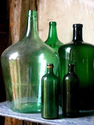 Green Demijohn Glass Bottles - Napa Style