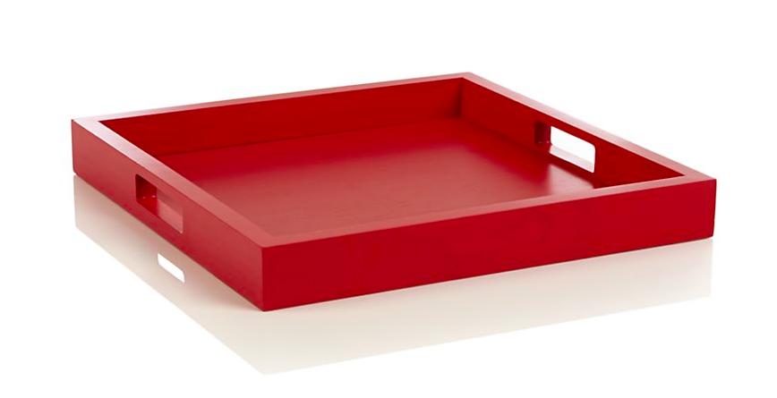 Zuma Fiery Red Tray - Crate & Barrel