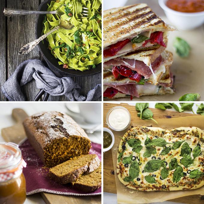 Spinach Carbonara  |  Italian Grilled Cheese  |  Pumpkin Bread  |  Chicken Alfredo & Pesto Pizza