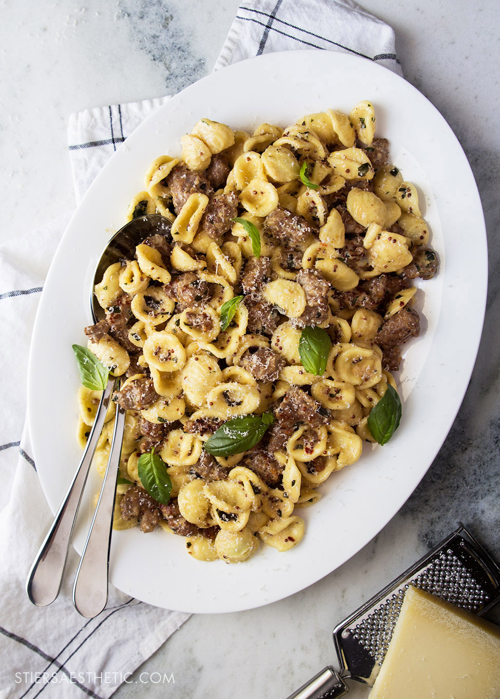 Sausage Basil & Mustard Orecchiette