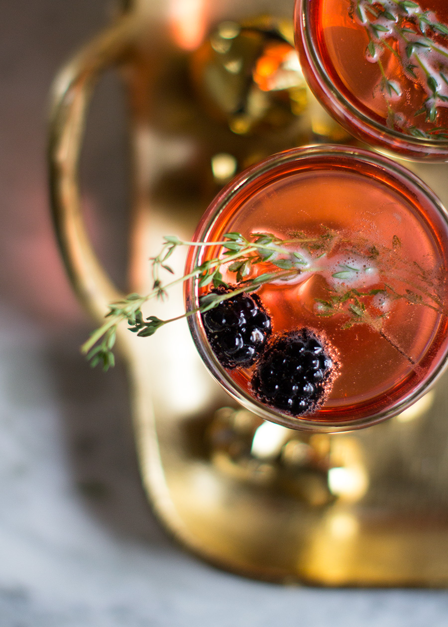 Blackberry Thyme Champagne Cocktail