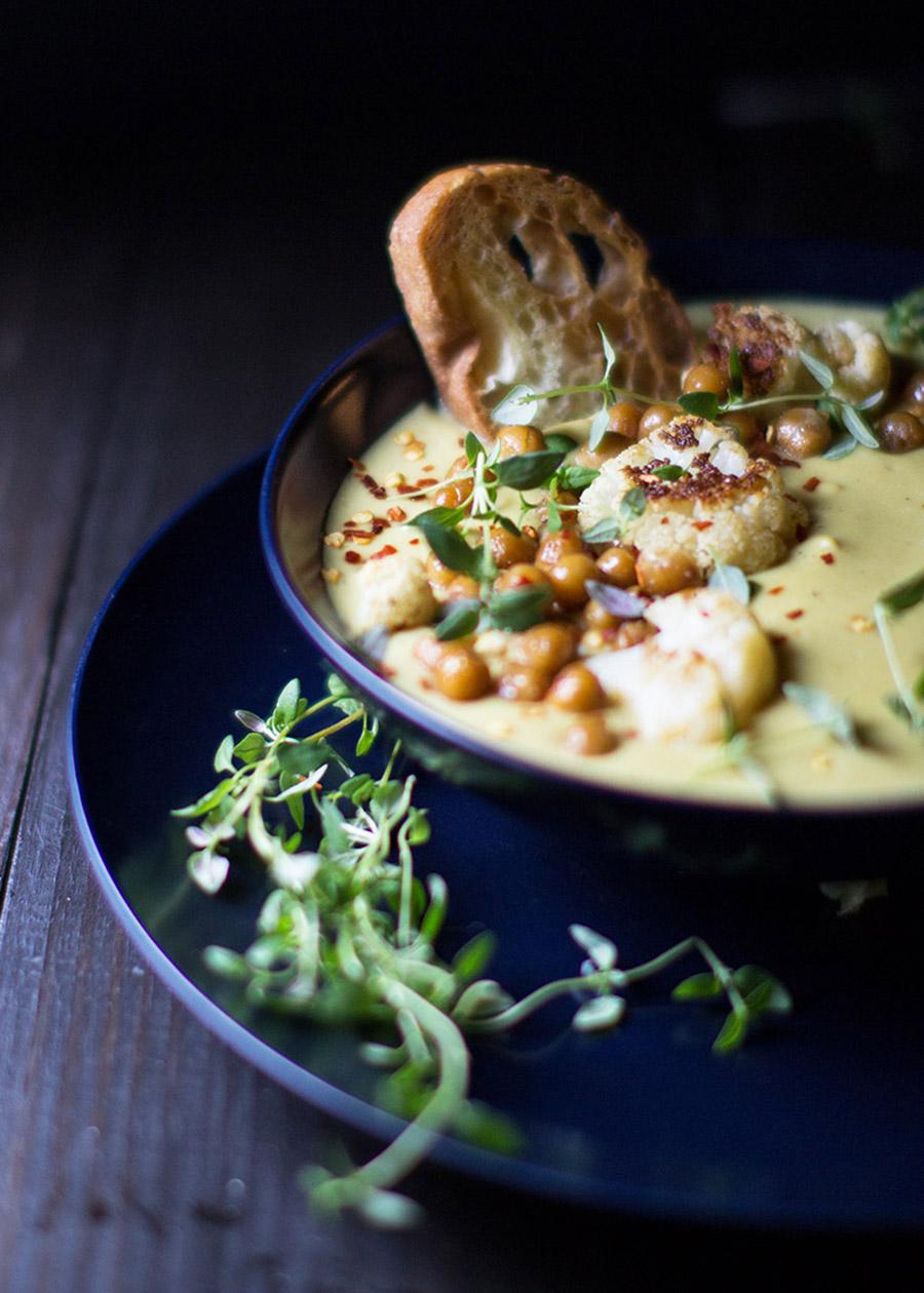 Cauliflower & Chickpea Potato Soup