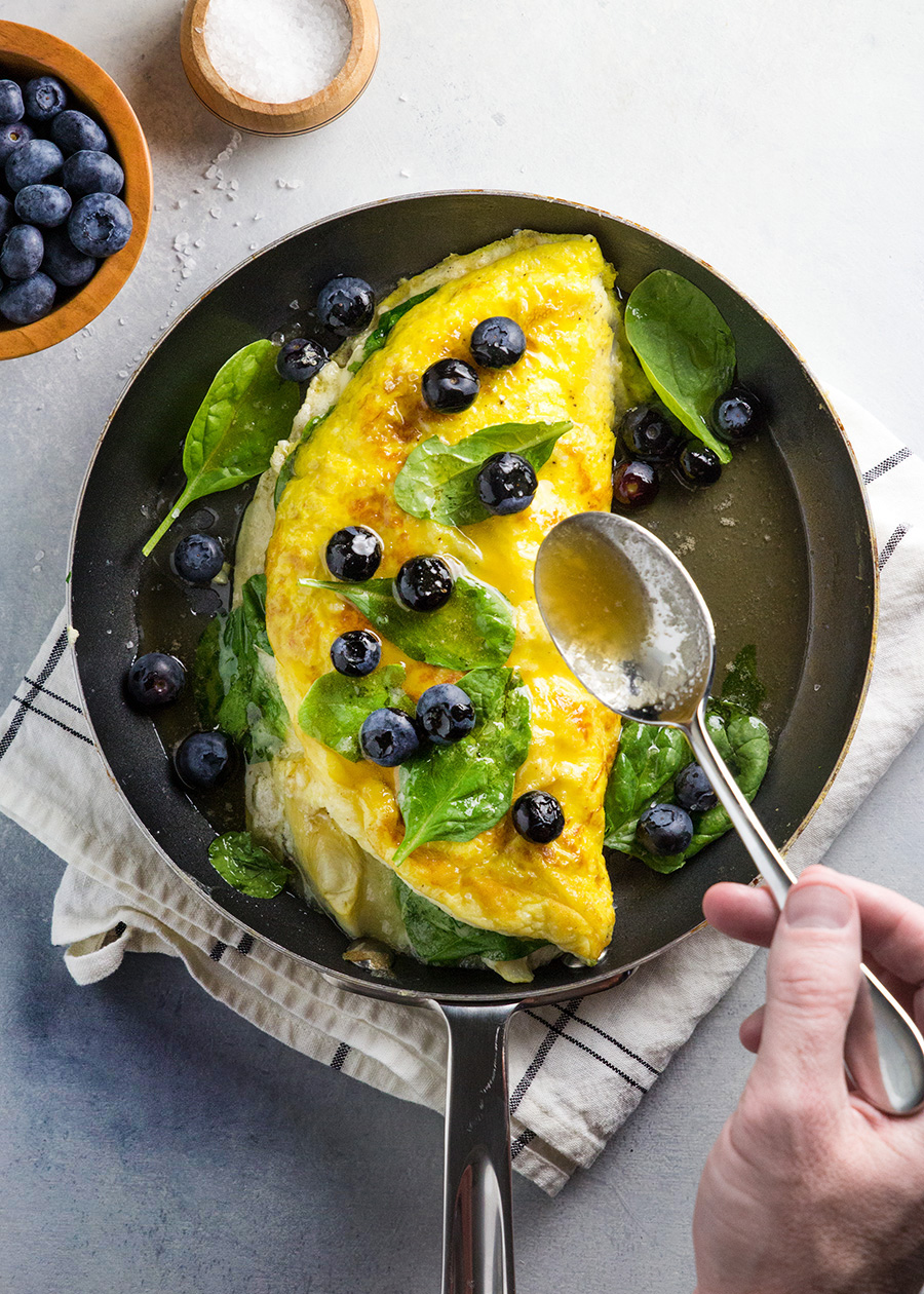 Soufflé Omelette with Spinach, Artichokes & Brie