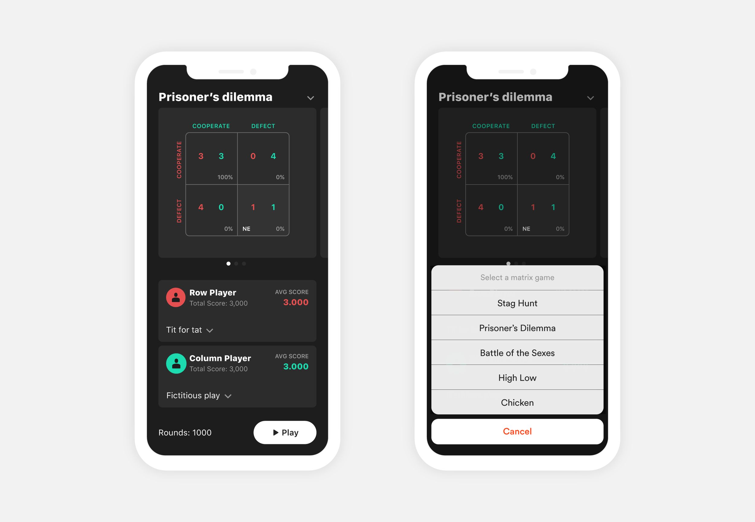 Game theory app
