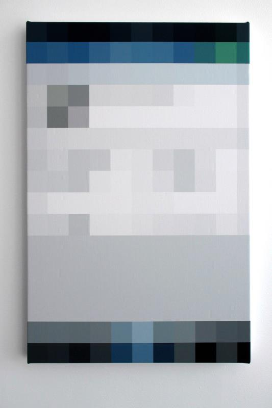 Corwin Peck,     Resolution Spectrum, Social Media Bleed part 8  , 2013; Archival pigment print on canvas; 24 x 16 inches