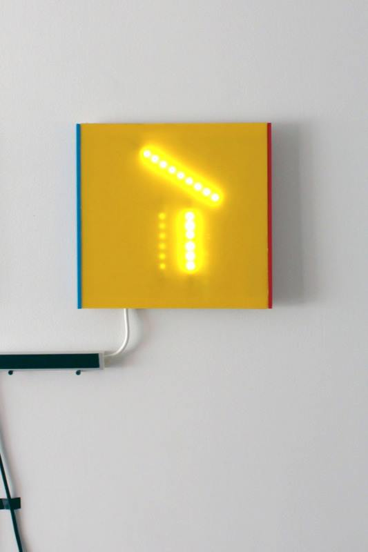 Rin Johnson,  1st light sketch in yellow  2013; Plexiglas, ply wood, and LED lights; 12 x 12 x 1 inches