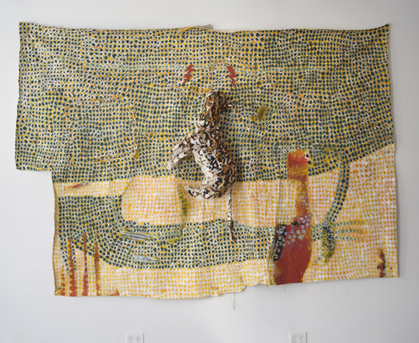 I meant it from the beginnin and winnin, soul sucka force as told by the white man.  2013 Wood, twine, chicken wire, and acrylic on canvas 76 x 109 x 11 inches