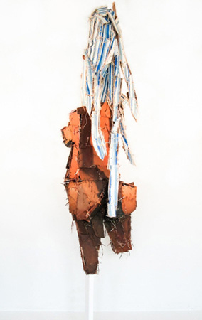 SEVAA IIANNNnnn  , on clams  2012 Wood, twice, chicken wire, acrylic, and marker 109 x 36 x 36 inches