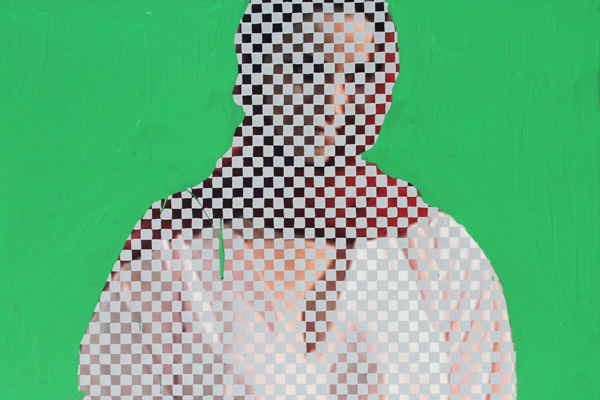 Are You SAG?  2013 Gouache and green screen emulsion on digitally printed canvas 15.75 x 23.5 x 1.5 inches