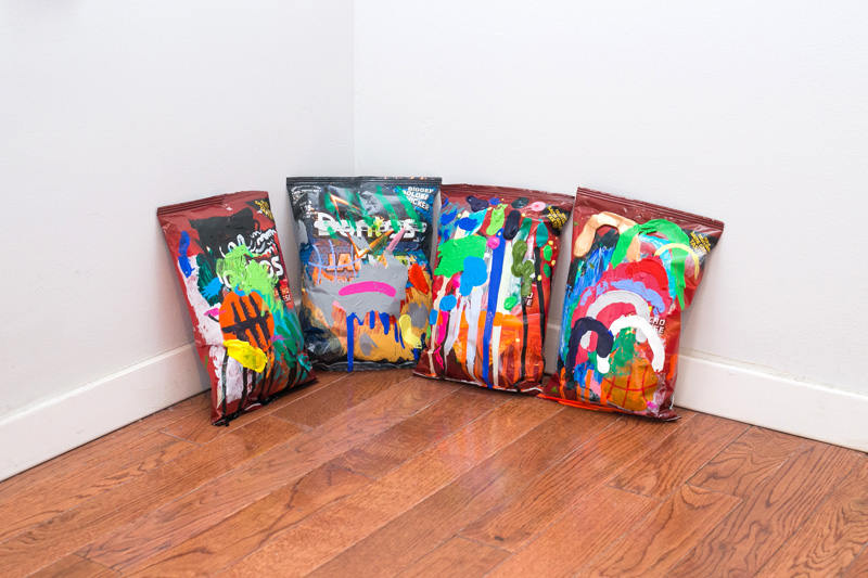 Sean Thomas Blott  Ellsworth Kelly East Hampton House Party (#1, #6, #4, #3)  2013 Mixed media (acrylic on Doritos bag) 9 x 6 x 2 inches each