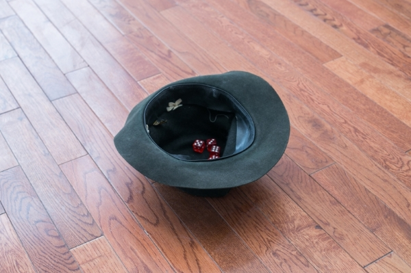 Samuel Payne  Upturned Hat, Cast Dice  2014 Felt hat, four red dice 12 x 12 x 6 inches