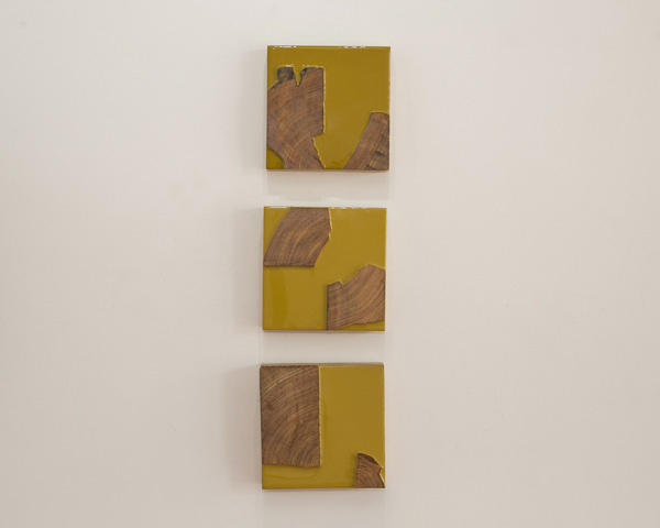 Guy Nelson From top to bottom: State of Being I, State of Being II, State of Being III  2014 Resin, reclaimed wood 8 x 8 inches each