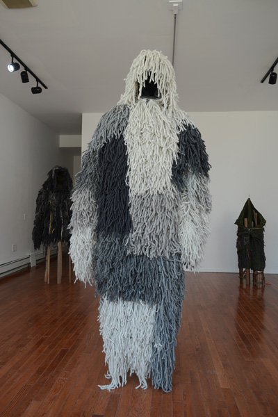 Bunker Ghillie  2013-2014 Wool, walnut, and nylon 77 x 18 x 14 inches MV001