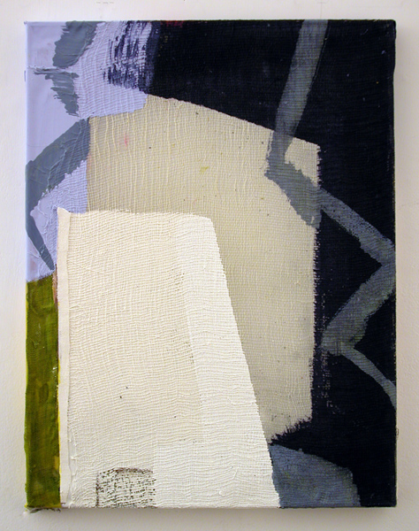 Molly Herman  Indigo Shadow  2013 Acrylic and linen on collaged silk 17 x 13 inches MH003