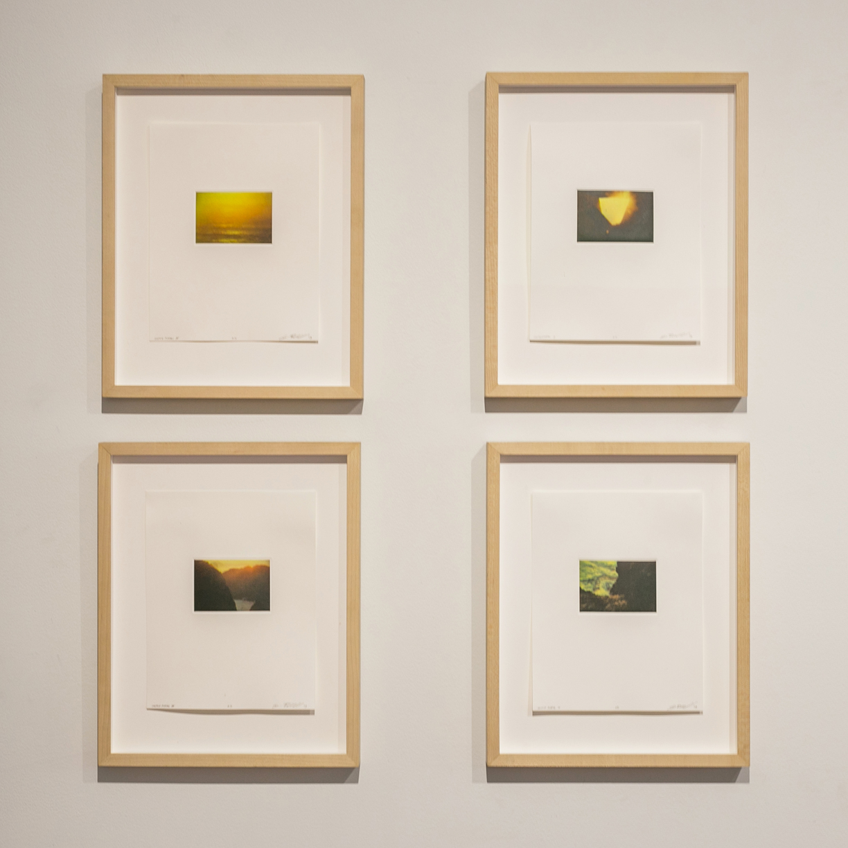 Corey Riddell From top to bottom, left to right:  Solstice Portal II ; Solstice Portal IV; Solstice Portal I; Solstice Portal III  2014 Four color dust grain gravure with chine colle 3.25 x 2.25 inch plate on 7 x 9 inch sheet each