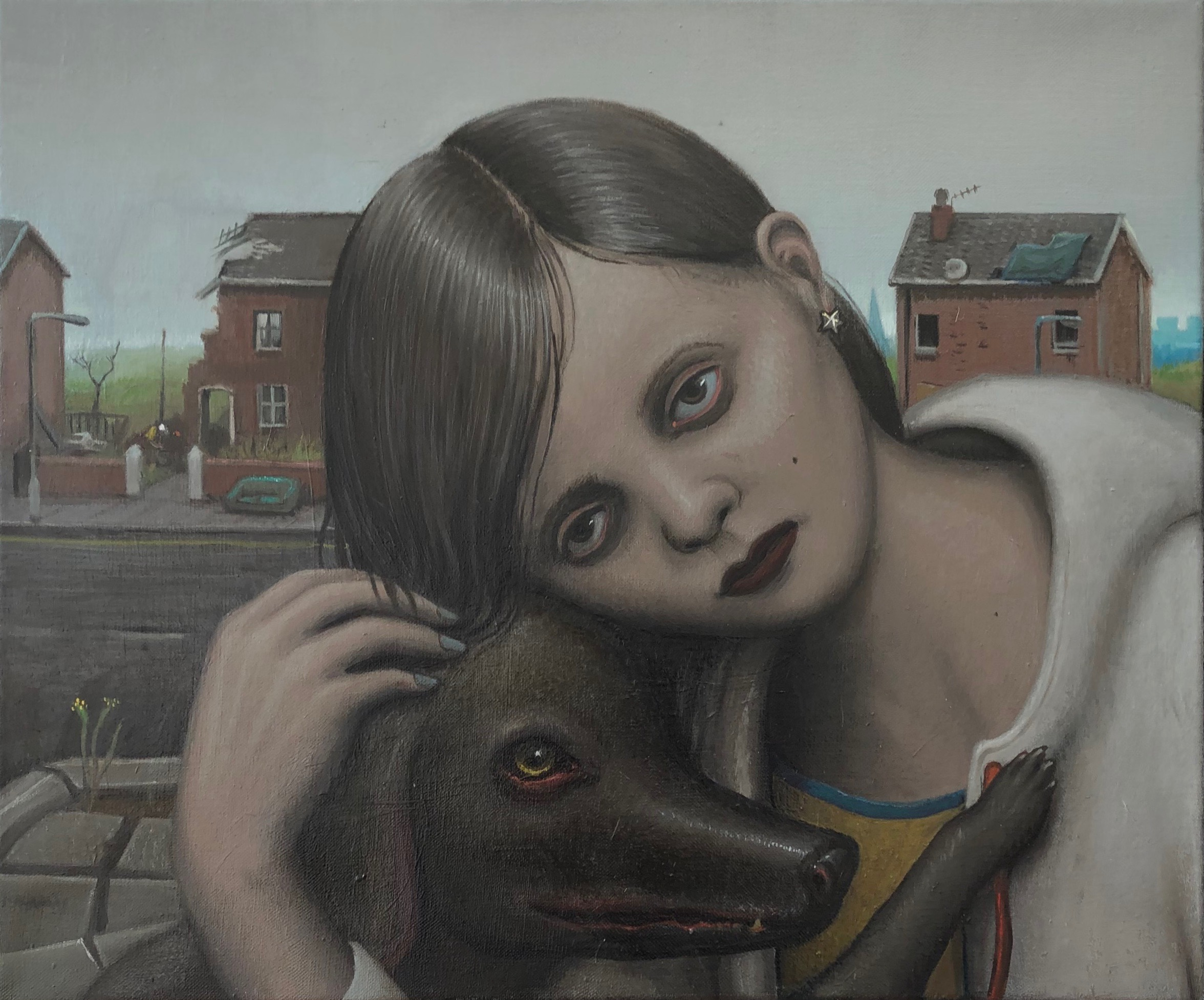 Michael Kirkham_Untitled (Girl with Dog)_2018_Oil on canvas_50 x 60 cm .jpg