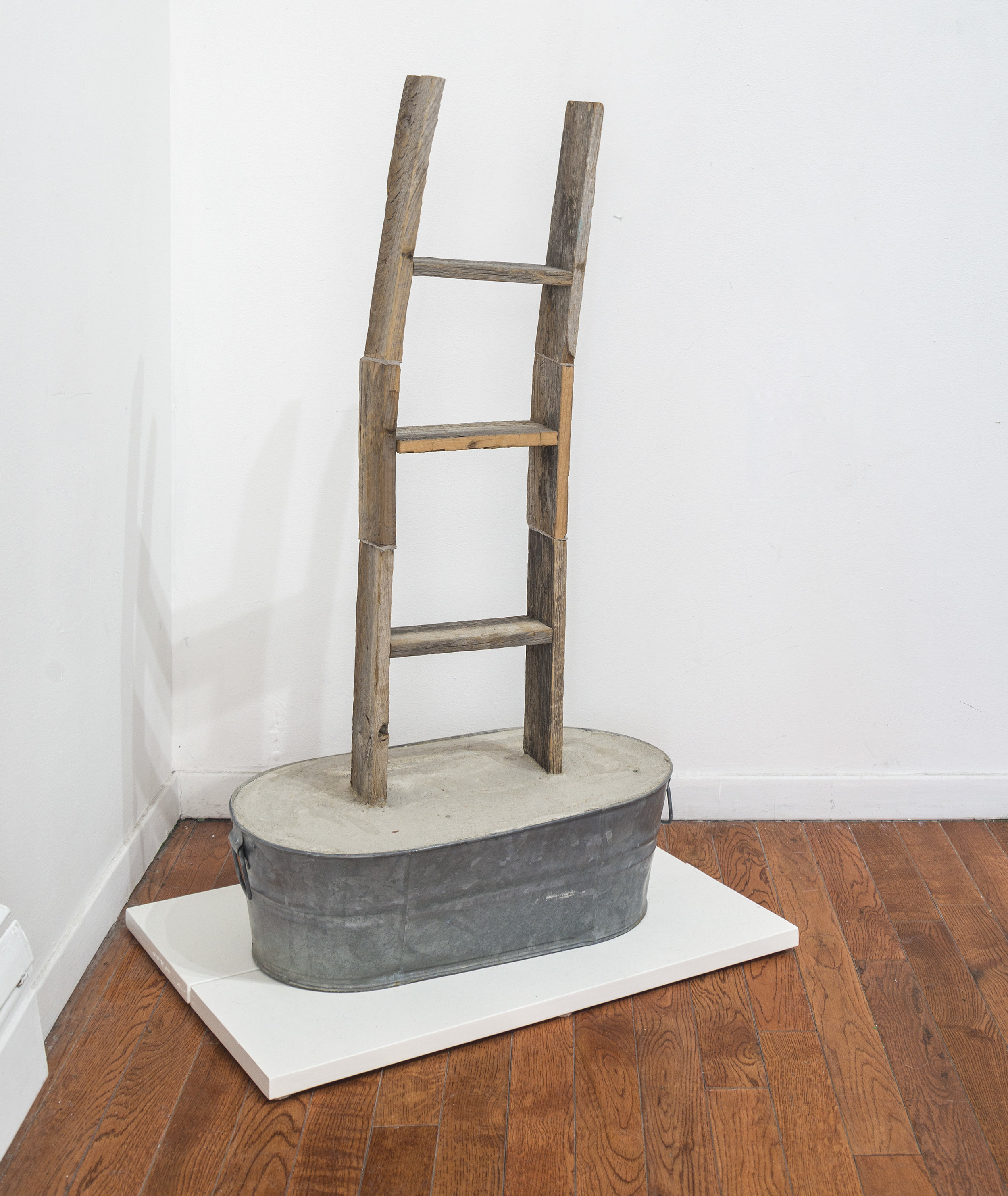 Sell your sin, 2019   Wooden ladder, metal plant pot, concrete on a pedestal 26x12x18 inches