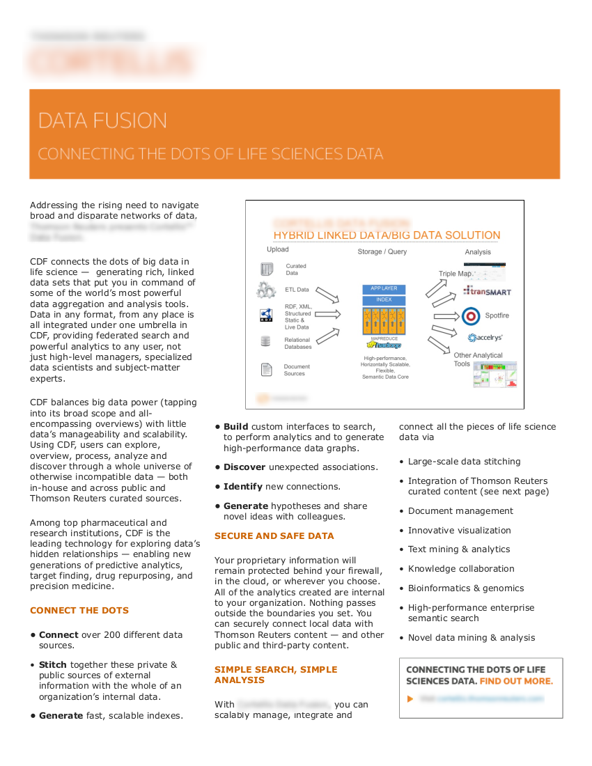 """• 2015 • client : Fortune 500 IT company  • subjects:  """"big data"""" analytics, informatics in life sciences"""