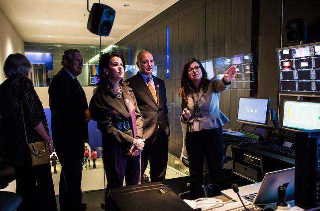 US Ambassador to Canada, Bruce Heyman, gets the official TIFF Bell Lightbox tour. (Photo: Connie Tsang)